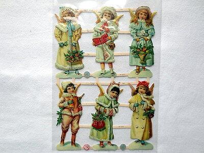 Glanzbilder Oblaten ~  ef 7347  Engel Winter Weihnachten Poesie Scraps