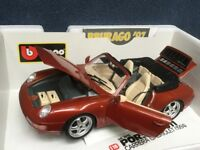 Burago Die-cast model car - 1/18 scale PORSCHE 911 Carrera Cabriolet 1994 in RED