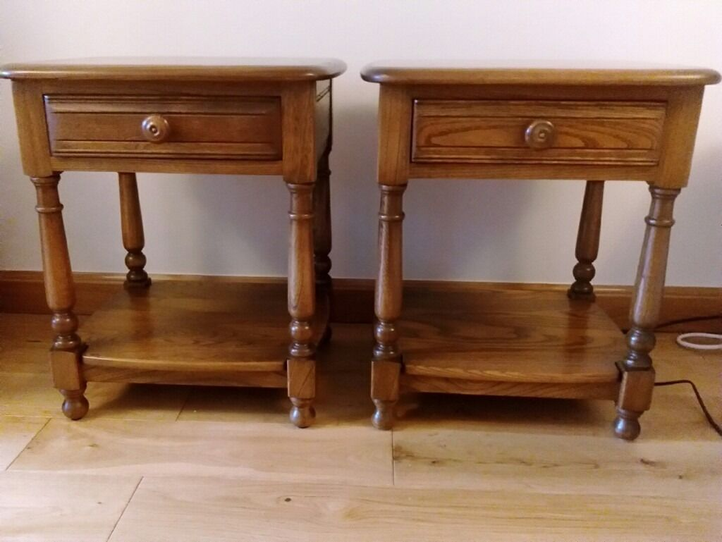 Ercol lamp table or bedside table with drawer and shelf two ercol lamp table or bedside table with drawer and shelf two available aloadofball Images