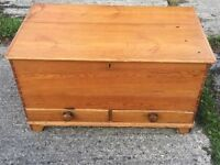 VICTORIAN PINE BLANKET BOX WITH DRAWERS