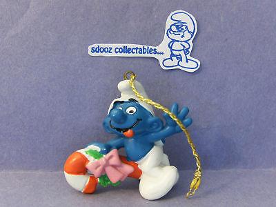 SMURF -- Christmas Ornament -- Riding Candy Cane !!!