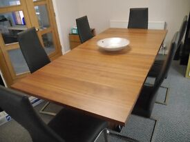 Walnut Dining Table and 6 Black Leather chairs