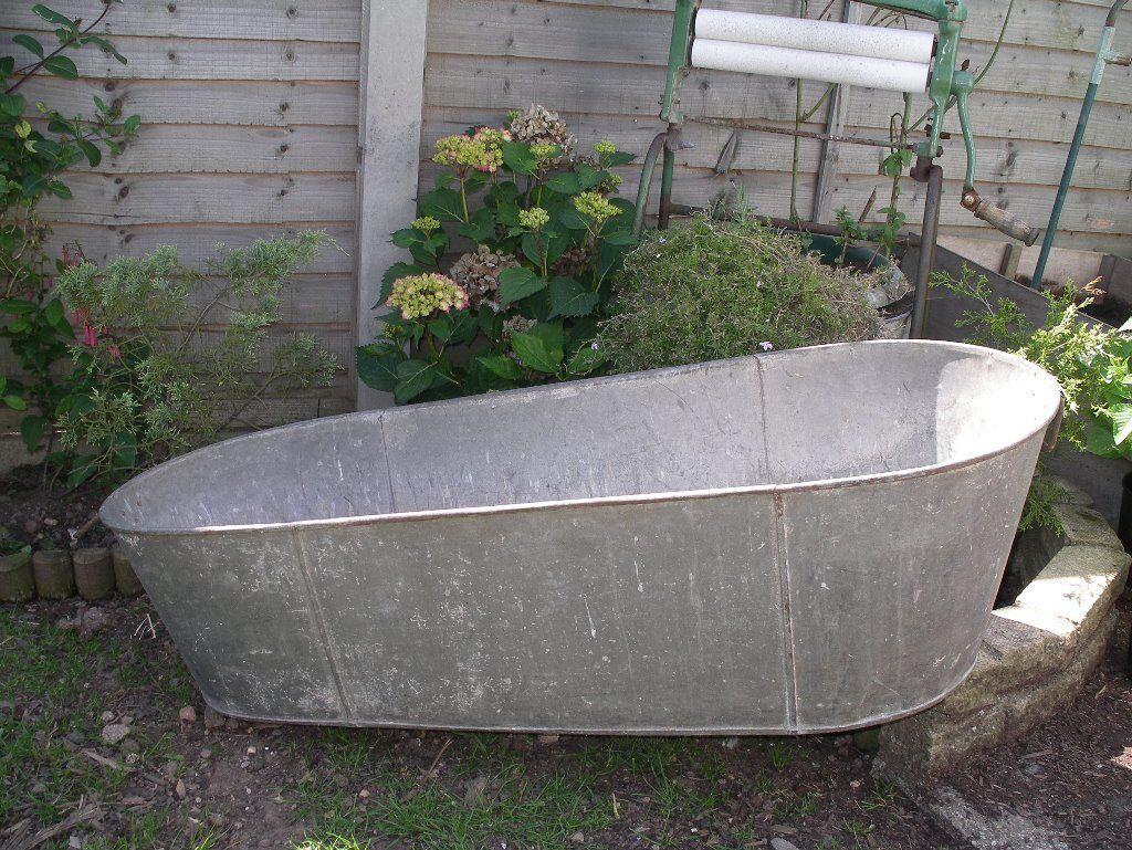 Large Antique / Vintage Tin Bath ~ Shabby Chic Trough Planter / Pond ...
