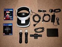 PlayStation VR Headset V2, PS4 Camera V2, 2 Move Controllers, 2 Games