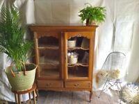 Antique French Oak Armoire Vitrine Glazed Display Cabinet, Louis XV ornate Book case