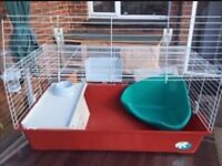 Ferplast indoor rabbit/guinea pig cage with botle, bowl, hay rack, litter tray and hide