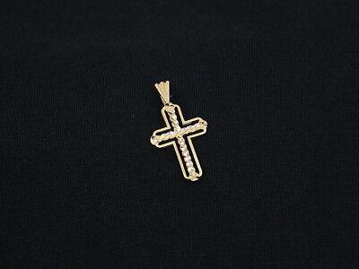 "14K Solid Yellow Gold Diamond Cut Cross Pendant "" Ma "" Michael Anthony 1.1 Grams"