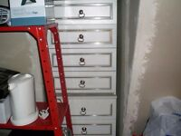 SET OF 8 NICE WHITE GOLD TRIMMED DRAWERS IN EXCELLENT CONDITION
