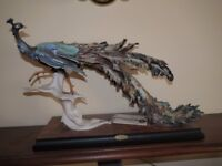 Peacock sculpture with lifted claw : 455-S Italy. Original by Guiseppe Armani