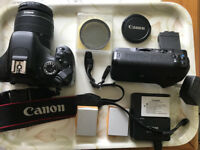 Canon 550D Digital SLR with 18-55 lens, grip, tripod and extras