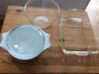 Pyrex bowl, small casserole and baking dish