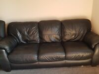 Black leather sofa and arm chair for sale