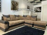 Brown corner sofa with footstool