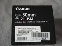 Canon EF 50mm f/1.2L USM LENS with lens case LP1214 and lens hood ES-78 * BRAND NEW