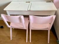 Children's Wooden Double School Desk & 2 Chairs