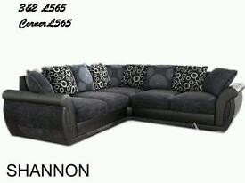 Brand new corner 3 seater and 2 seater black and grey shannon PAY MONTHLY