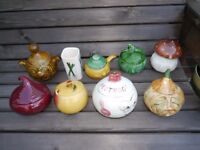 Nine vegetable and condiment related pots