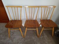 Set of 3 Ercol Dining Chairs 1960s
