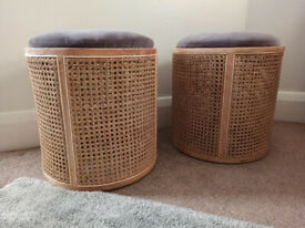 New Contemporary Rattan Stool | Velvet | Wicker