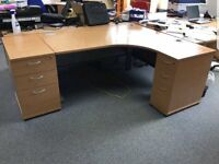 HEAVY DUTY CORNER OFFICE DESK WITH PEDESTALS AND CHAIR