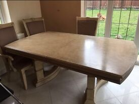 Dining Table and six chairs with cabinet, limed oak