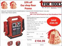 Sealey RoadStart® Emergency Booster Power Pack 12 & 24V 3000/1500 Peak Amps heavy duty commercial