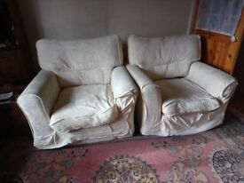 2cream armchairs removable washable covers