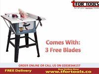 """Sealey TS10P Table Saw 10"""" 254mm 230V + 3 Free Blades"""