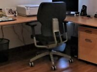 IKEA Klappe black leather 5-wheels swivel chair in good condition