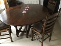 Reproduction Solid Oak Oval Gateleg Table and Six Ladder Back Chairs