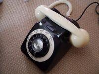 Refurbished GPO 746 type telephone in black and ivory, full working order.