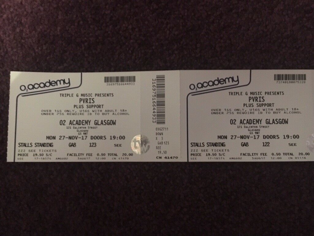 2 standing PVRIS tickets