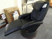 Reclining Massage Chair Shiatsu Black Leather