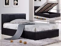 NEW LEATHER OTTOMAN STORAGE BED PRADO SINGLE DOUBLE KINGSIZE BLACK LEATHER OTTOMAN