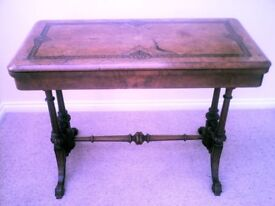 Antique Victorian Burr Walnut Card Table with inlay (Lamp / Occasional / Side)