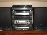 Aiwa stacking stereo system - turntable, 5 disc CD player, twin tape deck , speakers