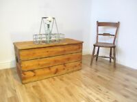 Vintage Slatted Pine Storage Chest / Coffee Table