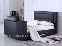 "NEW PARIS LEATHER TV BEDS HOLDS UP TO 40"" TV- USB CHARGER BUILD IN & STORAGE-DOUBLE KING BLACK BROWN"