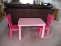 Ikea Child's Pink Table and 2 x Chairs - £10.00 for the set