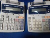 2 x SHARP EL-1801E 2color print Calculator