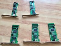 Lot of 5 PCI NICs (Network Interface Controllers/Cards) 3 x 1Gbit/s, 2 x 100Mbit/s