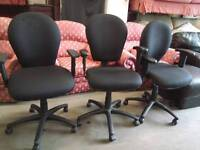 Black fabric office chairs