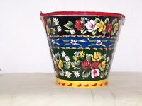 HAND PAINTED BUCKET (rose and castle)