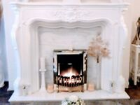 Fire Surround with base & back (Marble) for sale.