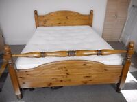 Beautiful King Size Pine Bed with Triton Deluxe Ortho Mattress - Great Condition