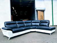 DFS Italian black/white leather corner sofa DELIVERY AVAILABLE