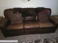 2 and 3 Seater Reclining Leather Sofa