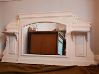 "Restored Antique Vintage Cast Iron Overmantle Mirror - Cream (56""x29"")"