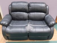 Black Recliner 2 seater leather sofa(Local delivery available £5-£10)
