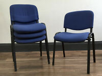 4 Stacking Office Chairs - Blue